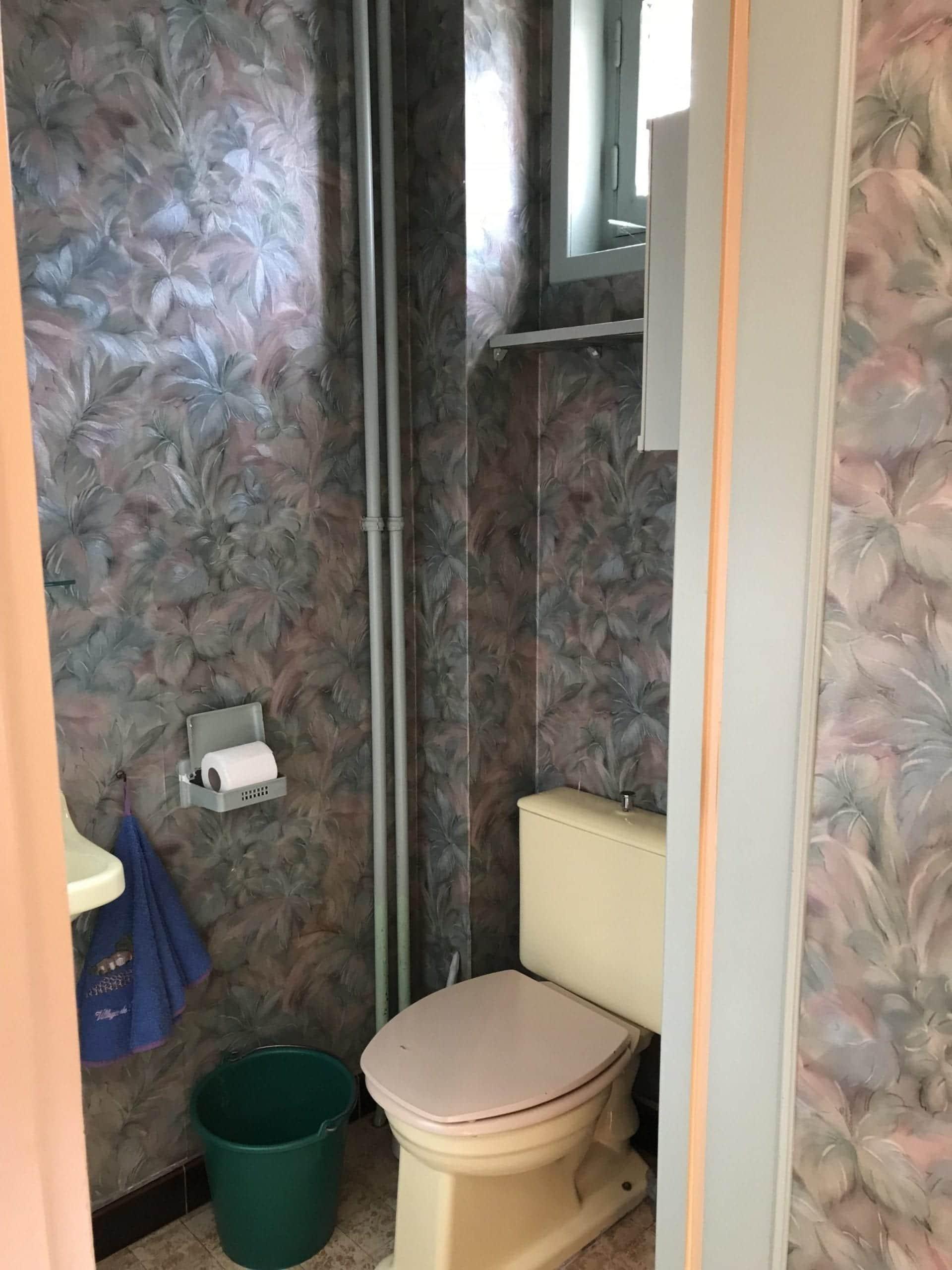 toilettes à rénover avec ancien papier peint